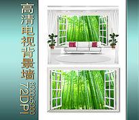 窗外竹林电视背景墙