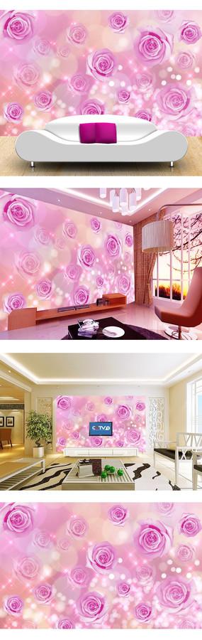 粉色浪漫玫瑰电视背景墙图片