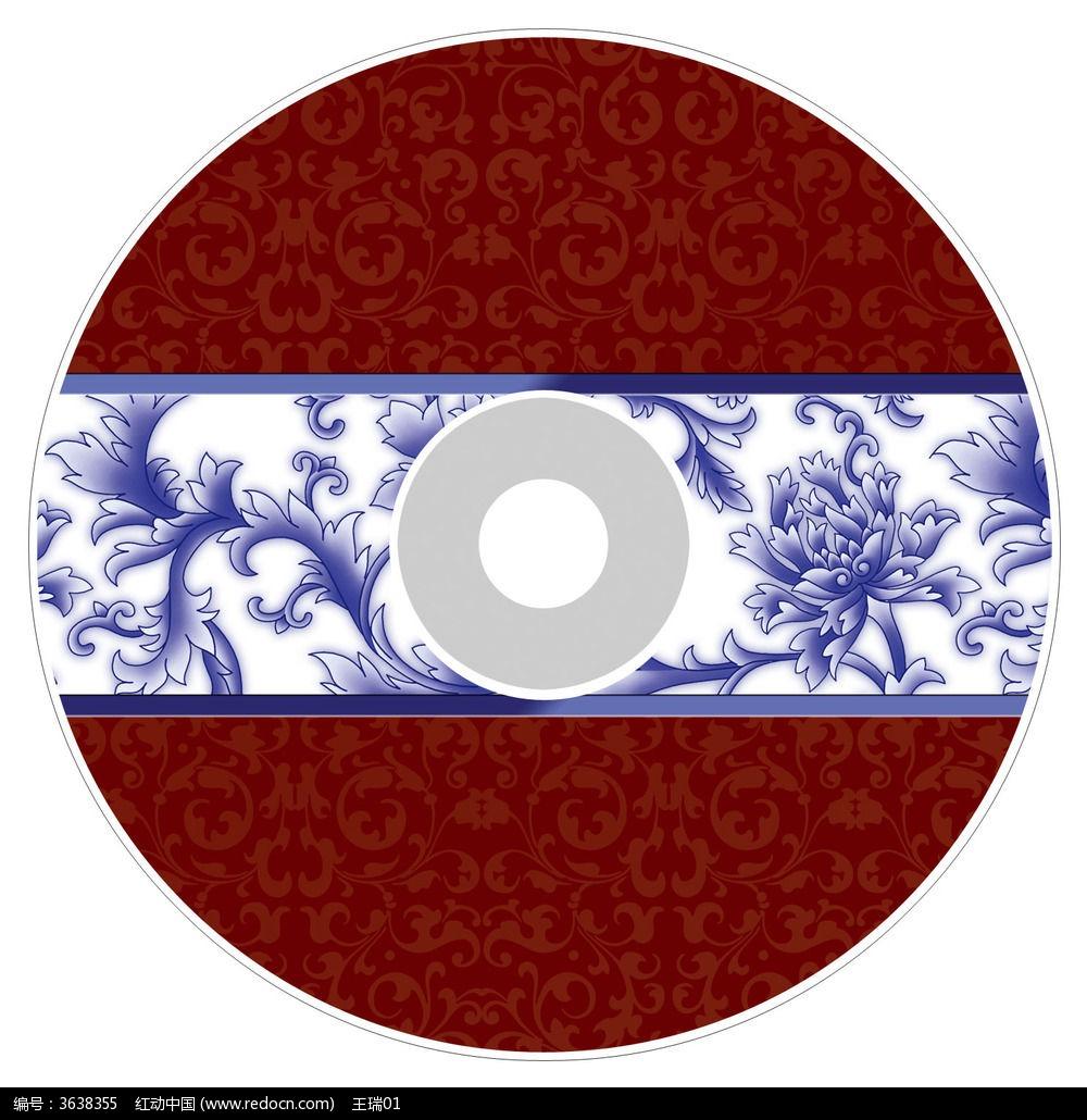中国风青花瓷光盘贴设计psd图片
