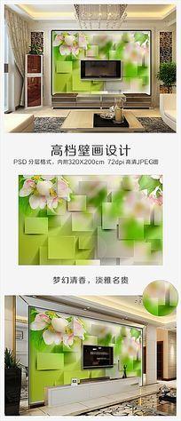 3D桃花绿色电视背景墙PSD分层