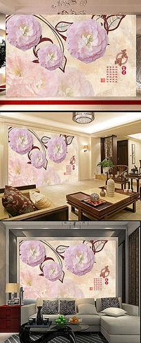 山茶花卉浮雕电视背景墙