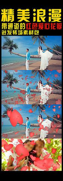 带通道的花瓣迸发婚礼转场素材 mov