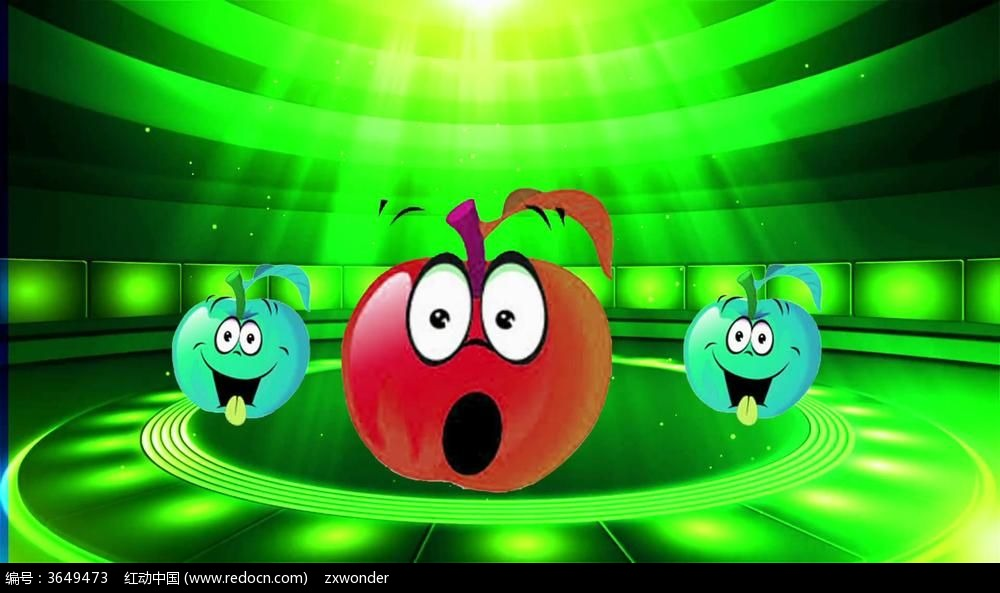 视频_动感卡通小苹果led视频背景