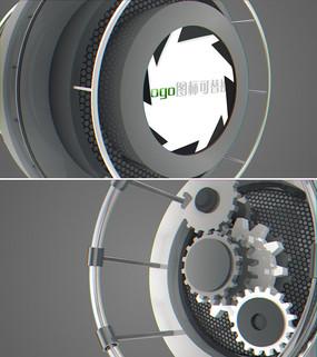 工业金属齿轮logo演绎ae模板