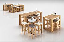 木制椅子桌子组合3D模型
