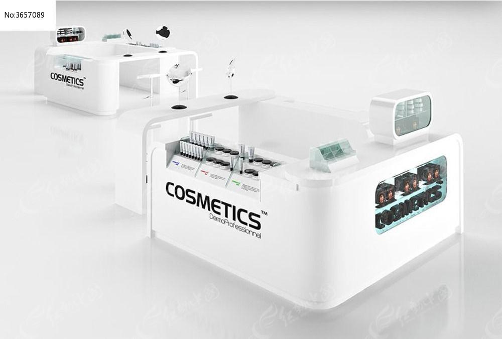 模型化妆品商场贴图3D模型+展厅灯光_3D字体视觉传达手绘展台设计师图片