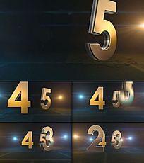 3D数字坠落的震撼5秒倒计时视频素材