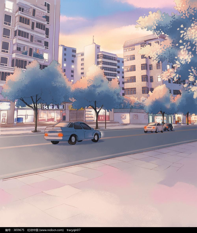 傍晚夕阳下的街道psd分层动漫背景