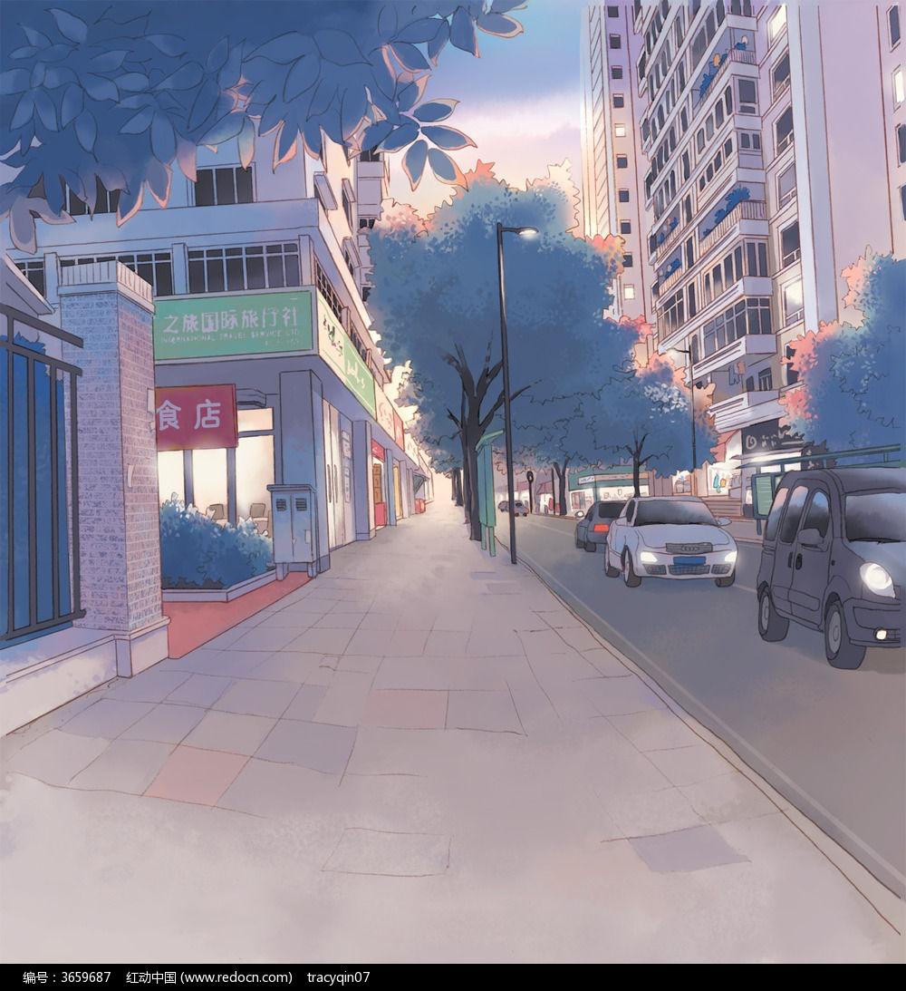 卡通道路背景图片