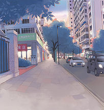 傍晚夕阳下的街道PSD分层动漫背景 PSD
