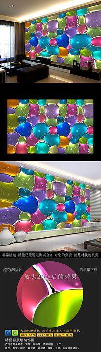 彩色艺术玻璃高清电视背景墙