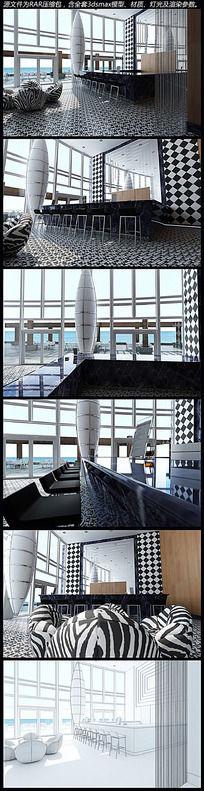 海边酒店大厅3d模型