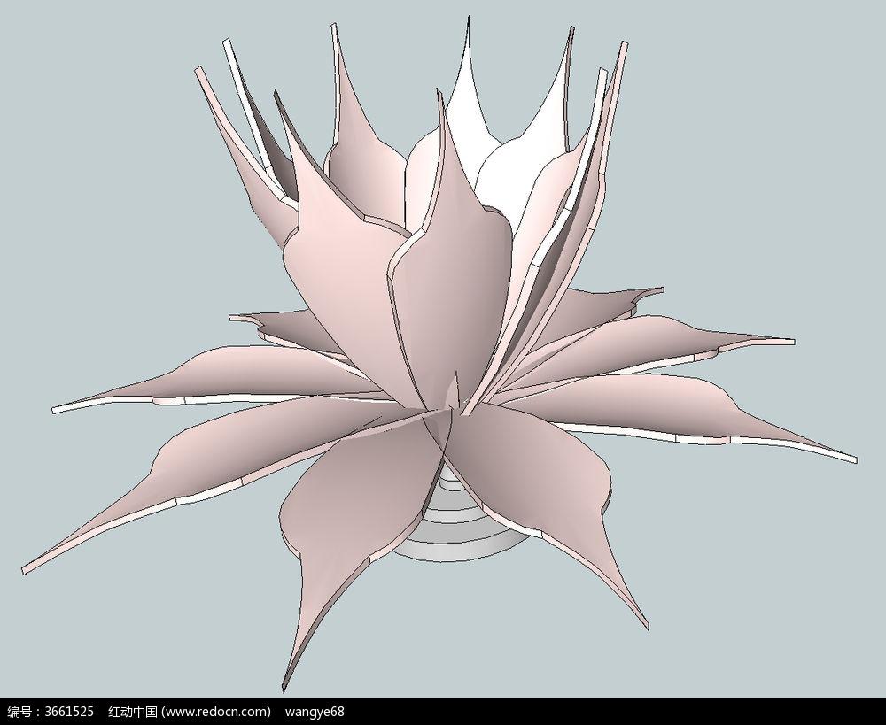花瓣喷泉su模型图片