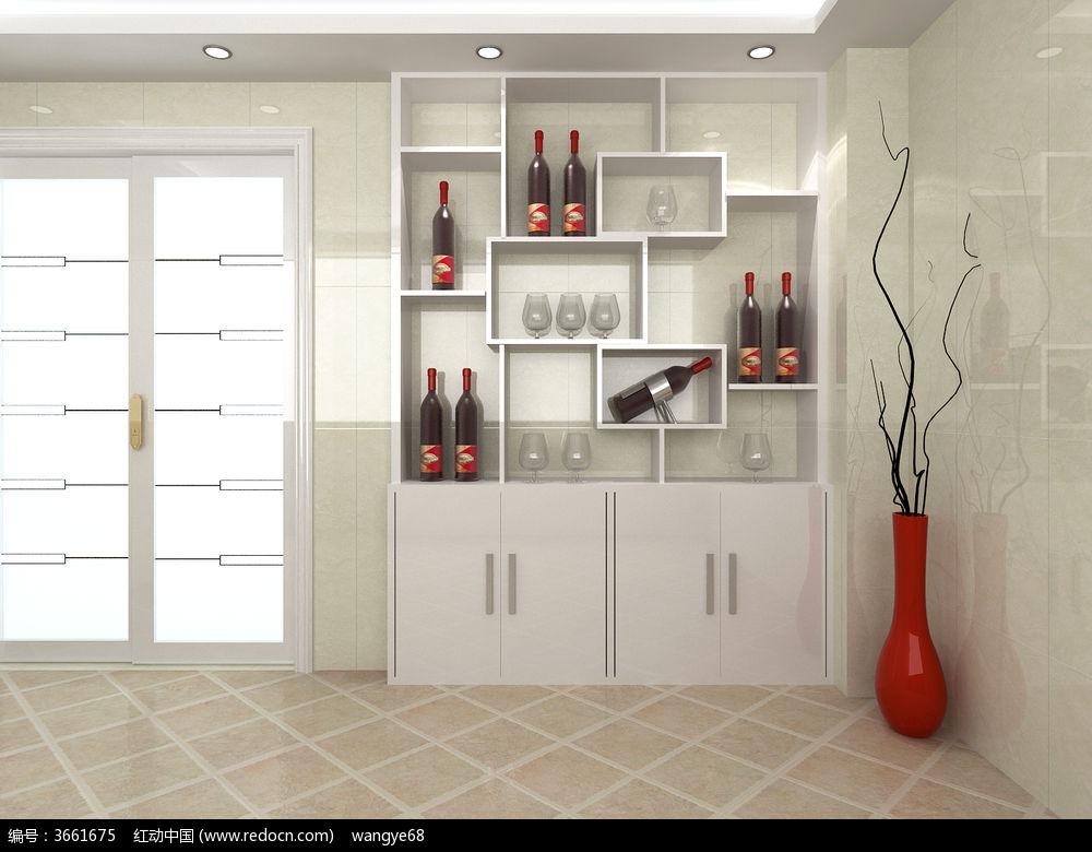 客厅酒柜模型+贴图3dmax素材下载_室内装修设计图片