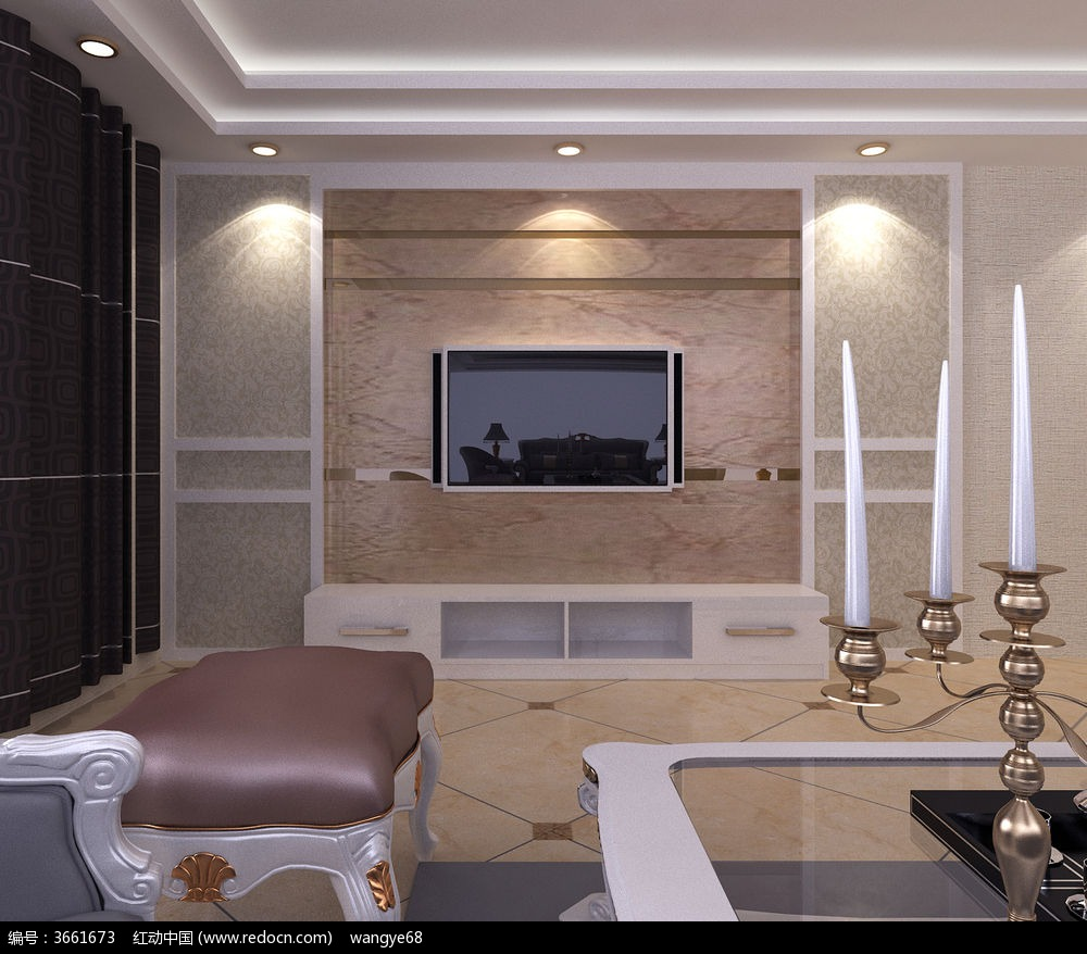 欧式客厅精品模型 电视柜背景墙3d模型