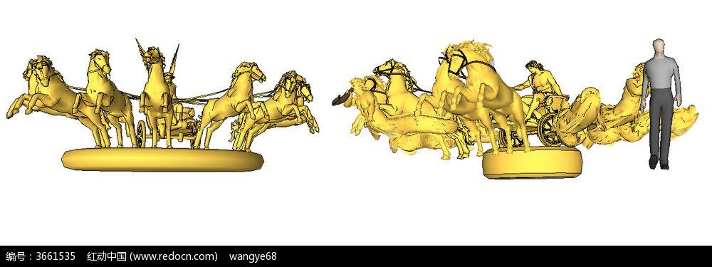 欧式雕塑小品su模型图片
