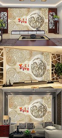 欧式花纹浮雕电视背景墙装饰画