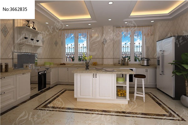 欧式整体厨房3d模型+贴图