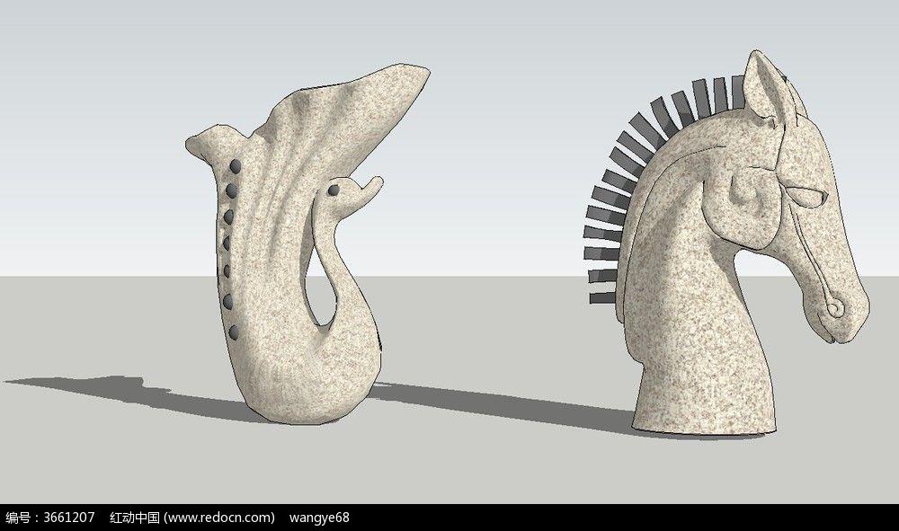 喷水雕塑su模型
