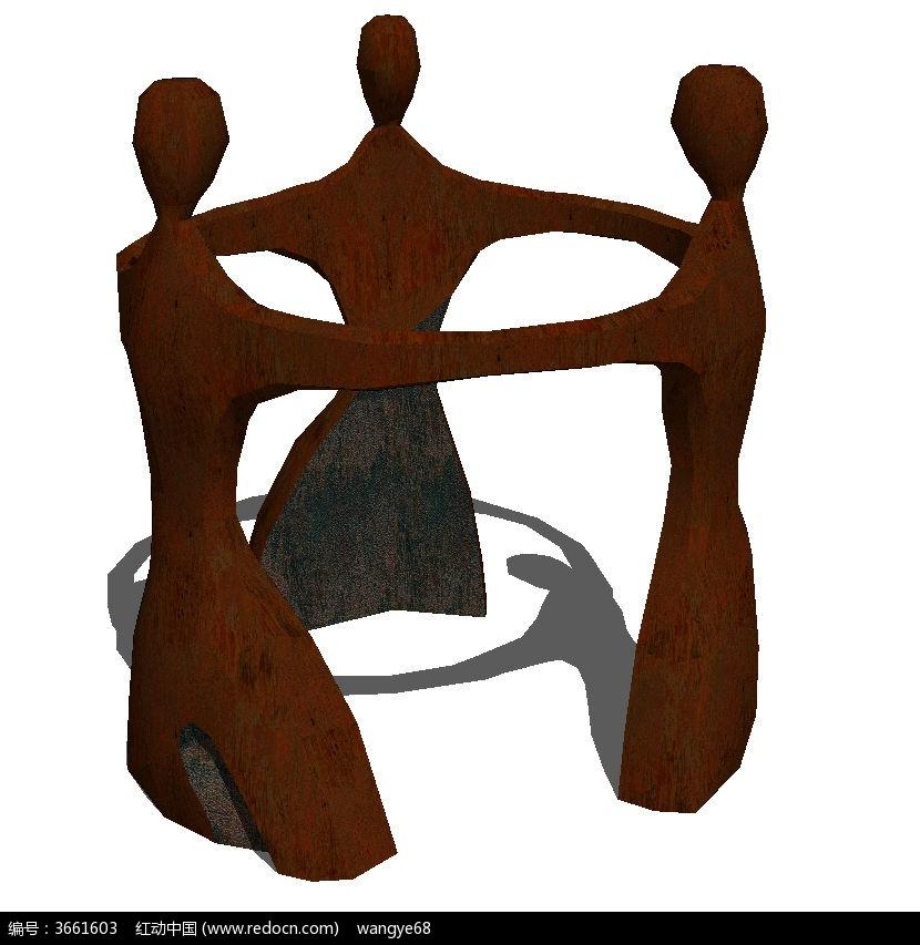 人物雕塑景观su模型