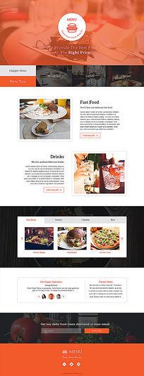 西式餐饮快餐类通用网站主页模板 PSD