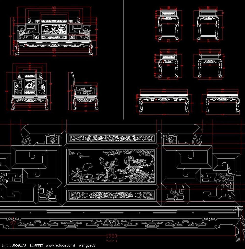 整套沙发红木家具cad生产图纸dwg设计下载