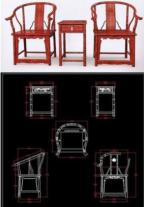 整套竹节圈椅沙发红木家具生产图纸