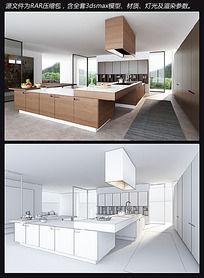 别墅开放式厨房3D模型
