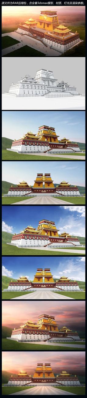 藏式寺庙3d模型含各角度分层PSD文件