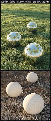 草地金属球3d模型