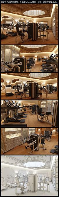健身房3d模型 max