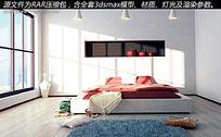 现代简约卧室max模型