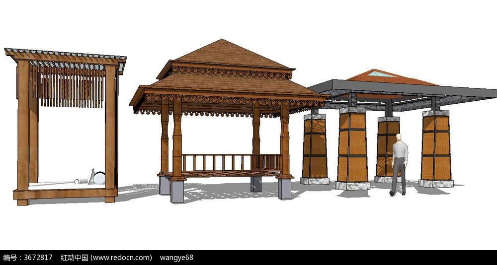 8款 东南亚景观亭子SU模型设计素材下载