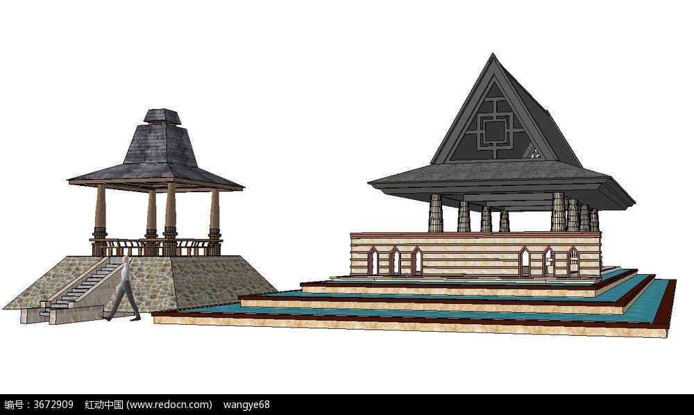 东南亚风格景观亭子su模型下载