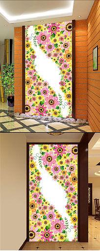 高档花卉抽象碎花布纹玄关隔断