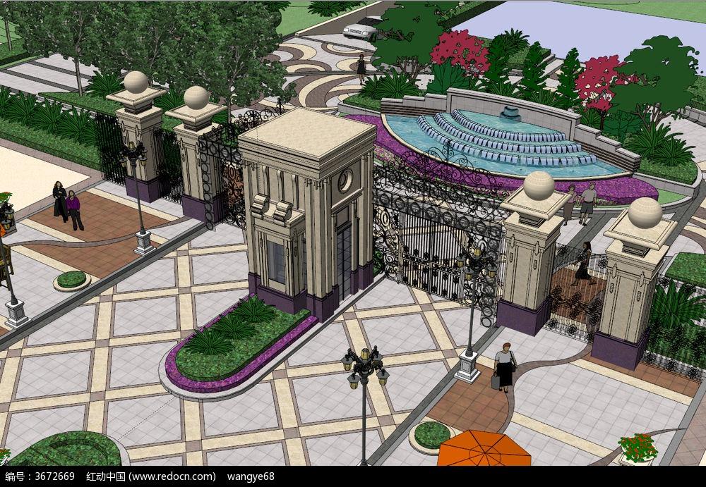 欧式花园式小区大门su模型