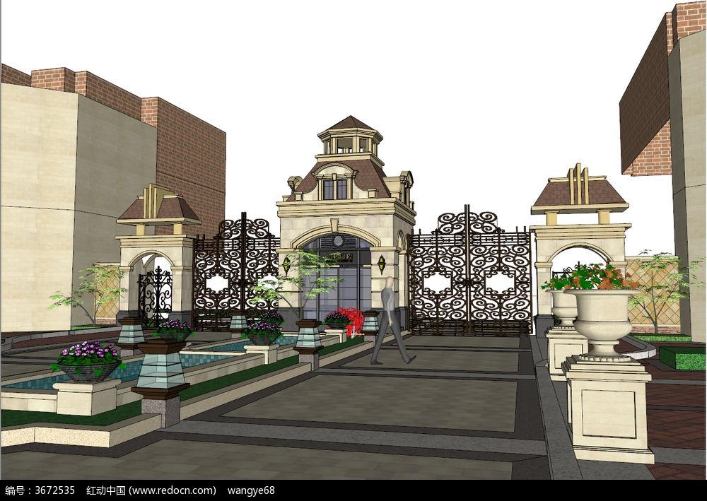 欧式景观小区大门su模型