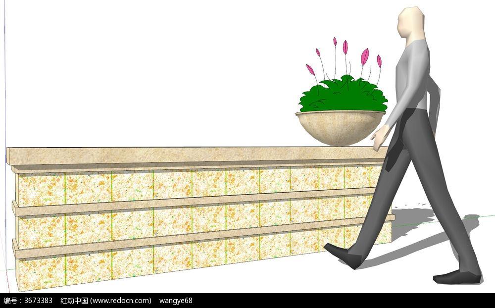 欧式景墙su模型图片