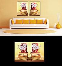 特色情侣对杯二联无框画壁画