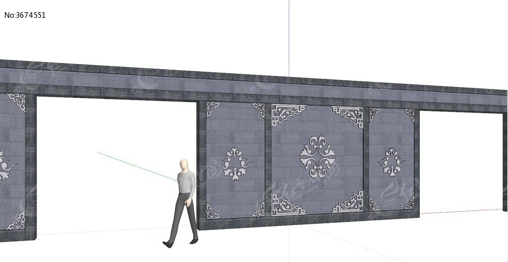 中式古典景墙su模型图片