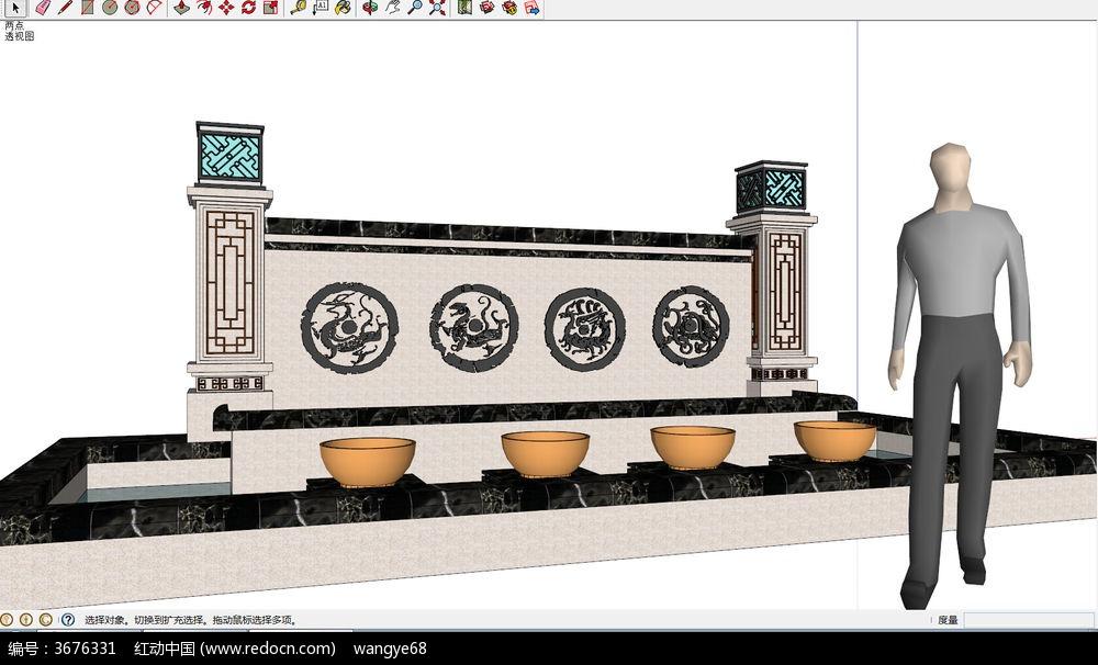 中式景墙照壁su模型