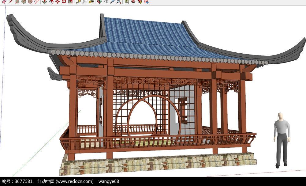 中式古建亭子廊架su模型其他素材下载