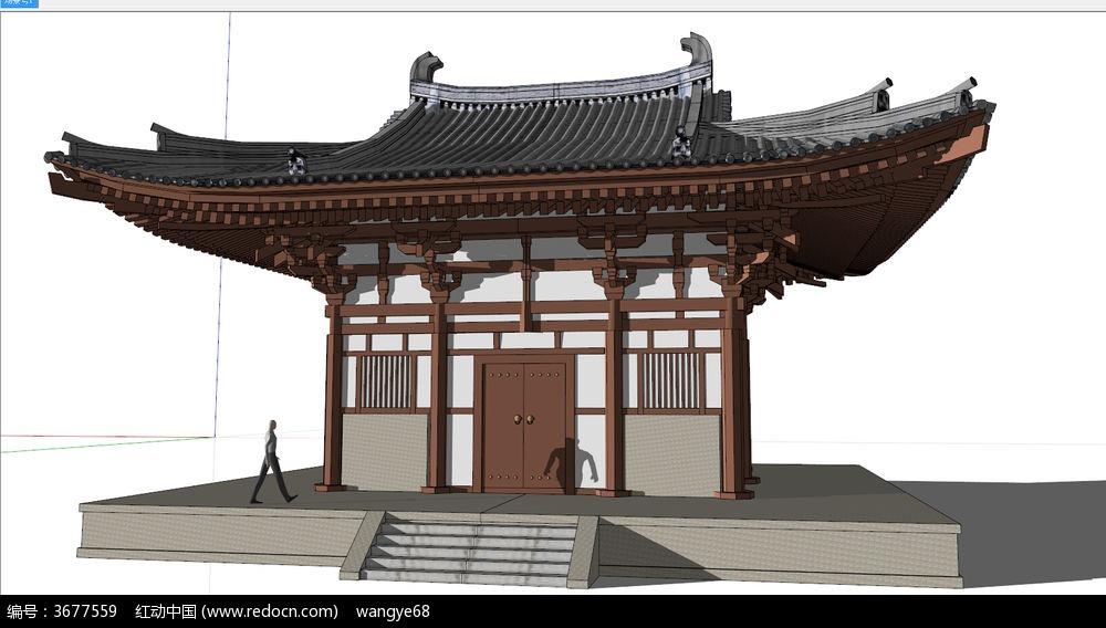 中式古建筑楼牌su模型