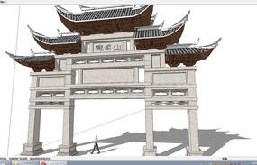 中式古建筑牌坊SU模型