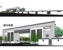 中式豪华气派大门SU模型