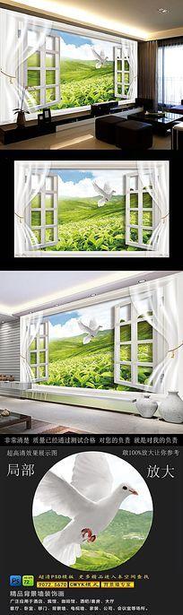 高清茶园风景3D电视背景墙