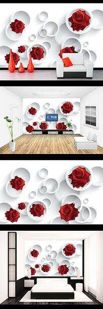 红玫瑰幻影圆圈3D电视背景墙图片