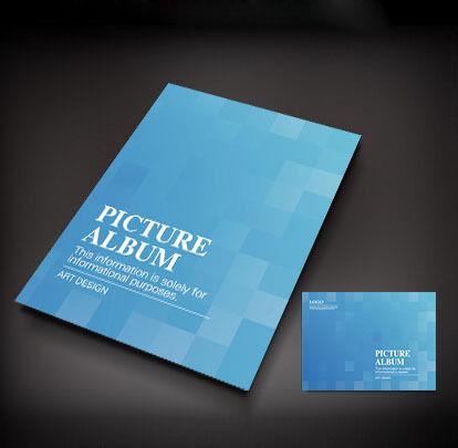 蓝色方格简洁画册封面设计图片