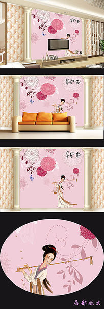 手绘花朵软包背景墙