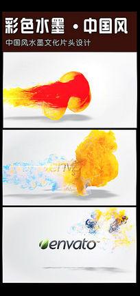 飘逸的彩色水墨logo揭示片头AE工程